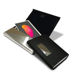 Porta-Cartão de Visita Elegance em Couro e Alumínio - FuturaIM