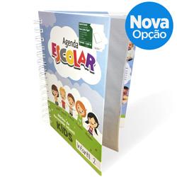 Agenda Escolar Infantil - 145x205mm em Folhas Internas Sulfite 75g - 4x0 - Laminação Fosca Frente - Wire-o Branco - Bolsa Plástica
