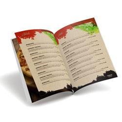 Cardápio 8 Páginas - 10 unidades - 210x297mm em Reciclato 240g - 4x4 - Laminação Fosca Frente e Verso - Grampo Canoa (cód. 10708)