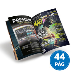 Revista 44 Páginas - 10 unidades - 100x140mm em Couché Brilho 90g - 4x4 - Sem Cobertura - Grampo Canoa (cód. 17155)
