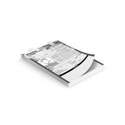 Talões 100x1 - 74x105mm em Sulfite 75g - 1x0 - Sem Cobertura - Blocagem 100x1 Via - Serrilha - Grampo