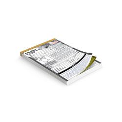 Talão - 10 unidades - 74x105mm em 1ª Via Autocopiativo Branco - 2ª Via Amarela 53g - 1x0 - Sem Cobertura - Numeração - Blocagem 50x2 Vias - Serrilha - Grampo (cód. 10536)