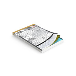 Talão - 10 unidades - 74x105mm em 1ª Via Autocopiativo Branco - 2ª Via Amarela - 3ª Via Azul 53g - 1x0 - Sem Enobrecimento - Numeração - Blocagem 50x3 Vias - Serrilha - Grampo (cód. 10552)