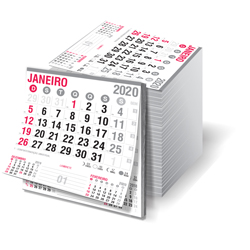 Blocos Calendário Comercial - 214x228mm em Sulfite 63g - 2x0 - Sem Cobertura - Destacado - Bloco Calendário 2020