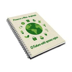 Caderno Capa Dura 96fls - 100 unidades - 175x245mm em Folhas Internas Reciclato 75g - 4x0 - Laminação Fosca Frente - Wire-o Branco (cód. 12016)