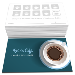 Cartão Fidelidade - 100 unidades - 48x88mm em Couché Brilho 250g - 4x1 - Sem Enobrecimento -  (cód. 22801)