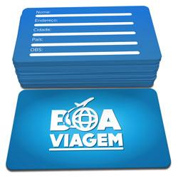 Cartão de Visita - 100 unidades - 48x88mm em Couché Brilho 250g - 4x4 - Laminação Fosca Frente e Verso - 4 Cantos Arredondados (cód. 3586)