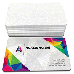 Cartão de Visita - 100 unidades - 48x88mm em Couché Brilho 300g - 4x0 - Laminação Holográfica - 4 Cantos Arredondados (cód. 3739)