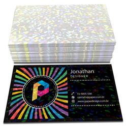 Cartão de Visita - 100 unidades - 48x88mm em Couché Brilho 300g - 4x0 - Laminação Holográfica -  (cód. 3731)