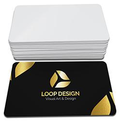 Cartão de Visita Dourado - 100 unidades - 48x88mm em Couché Fosco 300g - 4x0 - Laminação Soft Touch - Hot Stamping Dourado Frente - 4 Cantos Arredondados (cód. 3523)