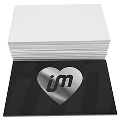 Cartões de Visita - 100 unidades - 48x88mm em Couché Fosco 300g - 4x0 - Laminação Soft Touch - Hot Stamping Prata Frente -  (cód. 27379)