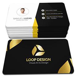 Cartão de Visita Dourado - 100 unidades - 48x88mm em Couché Fosco 300g - 4x4 - Laminação Soft Touch - Hot Stamping Dourado Frente - 4 Cantos Arredondados (cód. 3727)
