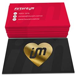 Cartão de Visita Dourado - 100 unidades - 48x88mm em Couché Fosco 300g - 4x4 - Laminação Soft Touch - Hot Stamping Dourado Frente -  (cód. 2733)