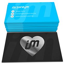 Cartão de Visita Prata - 100 unidades - 48x88mm em Couché Fosco 300g - 4x4 - Laminação Soft Touch - Hot Stamping Prata Frente -  (cód. 22297)