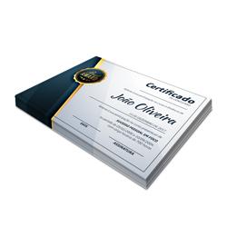 Certificados - 100 unidades - 210x297mm em Couché Brilho 300g - 4x0 - Sem Cobertura -  (cód. 3304)