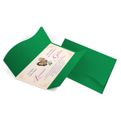 Convite de Casamento Clássico 08 - 142x210mm em Envelope Color Plus Buenos Aires 180g - Lâmina Couché 250g - 4x0 - Sem Cobertura - Faca Padrão