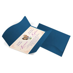 Convite de Casamento Clássico 08 Toronto - 100 unidades - 142x210mm em Envelope Color Plus Toronto 180g - Lâmina Couché 250g - 4x0 - Sem Cobertura - Faca Padrão (cód. 12461)