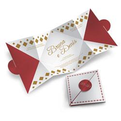 Convite de Casamento Especial 03 - 100 unidades - 125x125mm em Envelope Couché 250g - 4x4 - Sem Cobertura - Faca Padrão (cód. 12545)