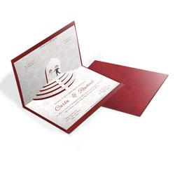 Convite de Casamento Especial 04 - 210x310mm em Envelope Color Plus Estampado Pequim 180g - Lâmina Couché 250g - 4x0 - Sem Cobertura - Faca Padrão