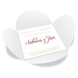 Convite de Casamento Especial 07 Alaska - 100 unidades - 148x148mm em Envelope Color Plus 180g - Lâmina Couché 250g - 4x0 - Sem Cobertura - Faca Padrão (cód. 16396)