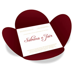 Convite de Casamento Especial 07 Pequim - 100 unidades - 148x148mm em Envelope Color Plus 180g - Lâmina Couché 250g - 4x0 - Sem Cobertura - Faca Padrão (cód. 12568)