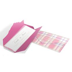 Convite de Casamento Romântico 01 - 100x180mm em Envelope Perolizado 180g - Lâmina Papel Perolizado 180g - 4x0 - Sem Cobertura - Faca Padrão