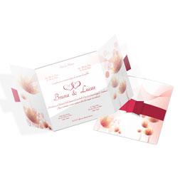 Convite de Casamento Romântico 04 - 100 unidades - 190x190mm em Envelope Couché 250g - 4x4 - Sem Cobertura - Faca Padrão (cód. 12663)