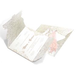 Convite de Casamento Romântico 05 - 100 unidades - 185x419mm em Envelope Perolizado 180g - 4x4 - Sem Cobertura - Faca Padrão (cód. 12673)