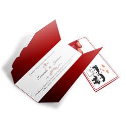 Convite de Casamento Romântico 08 - 100 unidades - 110x210mm em Envelope Perolizado 180g - 4x4 - Sem Cobertura - Faca Padrão (cód. 12688)
