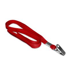 Cordão Liso Vermelho - 100 unidades - 840x12mm em Poliéster  - Sem impressão -  - Terminal Argola e Jacaré - Sem Personalização (cód. 15484)