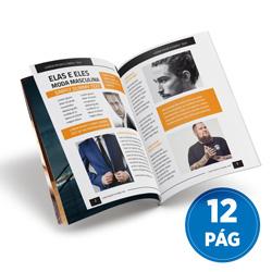 Revista 12 Páginas - 100 unidades - 148x210mm em Couché Brilho 150g - 4x4 - Sem Cobertura - Grampo Canoa (cód. 17918)