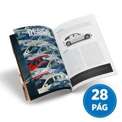 Revista 28 Páginas - 100 unidades - 148x210mm em Couché Brilho 150g - 4x4 - Sem Cobertura - Grampo Canoa (cód. 17958)