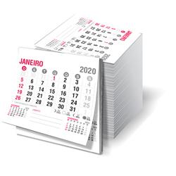 Bloco de Calendário para Postal - 1.000 unidades - 68x75mm em Sulfite 63g - 2x0 - Sem Cobertura - Sem Destaque - Bloco Calendário 2020 (cód. 20077)
