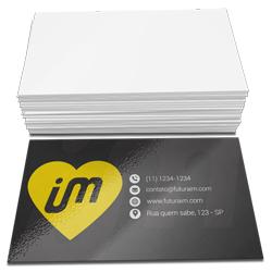 Cartão de Visita - 1.000 unidades - 48x88mm em Couché Brilho 250g - 4x0 - Verniz Total Brilho Frente -  (cód. 4527)