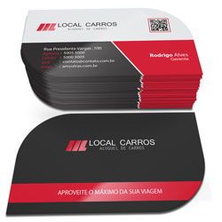 Cartões de Visita - 48x88mm em Couché Fosco 300g - 4x4 - Laminação Fosca e Verniz Localizado F/V - Corte Folha
