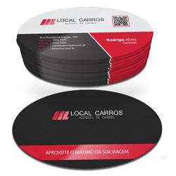 Cartões de Visita - 48x88mm em Couché Fosco 300g - 4x4 - Laminação Fosca e Verniz Localizado F/V - Corte Oval