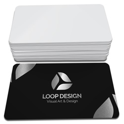 Cartão de Visita Prata - 1.000 unidades - 48x88mm em Couché Fosco 300g - 4x0 - Laminação Soft Touch - Hot Stamping Prata Frente - 4 Cantos Arredondados (cód. 22303)