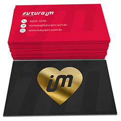 Cartão de Visita Dourado - 1.000 unidades - 48x88mm em Couché Fosco 300g - 4x4 - Laminação Soft Touch - Hot Stamping Dourado Frente -  (cód. 22480)