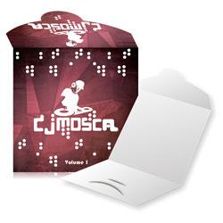 Envelope CD Encaixe - 1.000 unidades - 125x125mm em Couché Brilho 300g - 4x0 - Verniz Total Brilho Frente - Faca Padrão (cód. 11029)