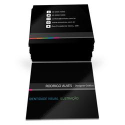 Cartão de Visita - 1.000 unidades - 43x48mm em Couché Brilho 250g - 4x4 - Verniz Total Brilho F/V -  (cód. 6752)