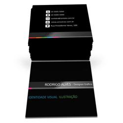 Cartão de Visita - 1.000 unidades - 43x48mm em Couché Fosco 300g - 4x4 - Laminação Fosca e Verniz Localizado F/V -  (cód. 6827)