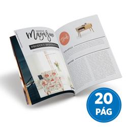 Revista 20 Páginas - 1.000 unidades - 148x210mm em Couché Brilho 150g - 4x4 - Sem Cobertura - Grampo Canoa (cód. 17941)