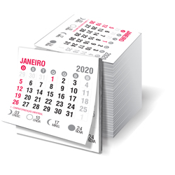 Bloco de Calendário para Ímã de Geladeira - 10.000 unidades - 45x50mm em Sulfite 63g - 2x0 - Sem Cobertura - Destacado - Bloco Calendário 2020 (cód. 22033)
