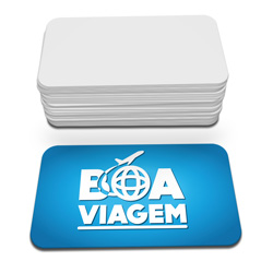 Cartões de Visita - 45x80mm em Couché Fosco 300g - 4x0 - Verniz Localizado Frente - 4 Cantos Arredondados Mini