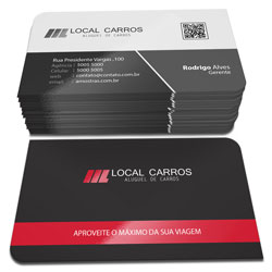 Cartão de Visita - 10.000 unidades - 48x88mm em Couché Fosco 300g - 4x1 - Laminação Fosca e Verniz Localizado F/V - 2 Cantos Arredondados (cód. 3119)