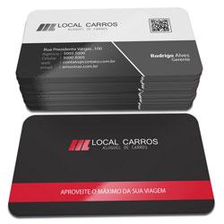 Cartão de Visita - 10.000 unidades - 48x88mm em Couché Fosco 300g - 4x1 - Laminação Fosca e Verniz Localizado F/V - 4 Cantos Arredondados (cód. 3549)