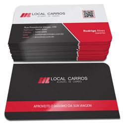 Cartão de Visita - 10.000 unidades - 48x88mm em Couché Fosco 300g - 4x4 - Laminação Fosca e Verniz Localizado F/V - 2 Cantos Arredondados (cód. 3124)
