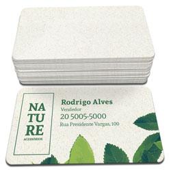Cartão de Visita - 10.000 unidades - 48x88mm em Reciclato 240g - 4x0 - Sem Cobertura - 4 Cantos Arredondados (cód. 3559)