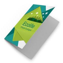 Folders - 10.000 unidades - 297x420mm em Couché Brilho 115g - 4x0 - Sem Cobertura - Dobra Central (cód. 11411)