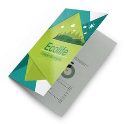 Folders - 10.000 unidades - 297x420mm em Couché Brilho 150g - 4x4 - Verniz Total Brilho F/V - Dobra Central (cód. 11451)